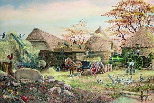 Steam; Thresher; Farmyard Scene; Farm; Yard; Haystack; Farmers; Labourers; Shire Horse; Thatched; Roof; Roofs; Harvest; Family Of Pigs; Pig; Piglets; Sow; Rural; Thatch; Farm Painting - Threshing In Kent by Dudley Pout