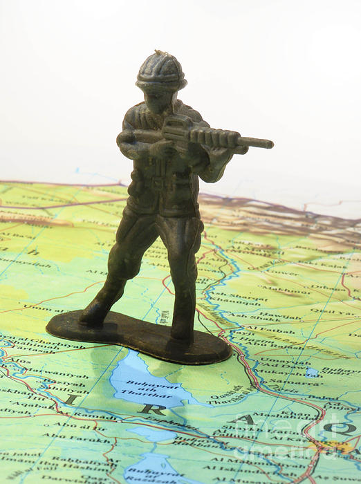 Aggression Photograph - Toy Solider On Iraq Map by Amy Cicconi