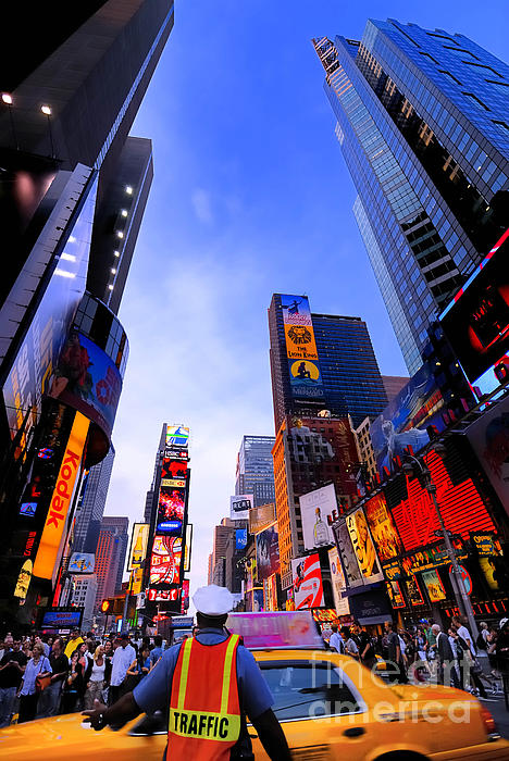 Ads Photograph - Traffic Cop In Times Square New York City by Amy Cicconi