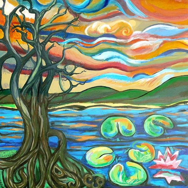 Tree Painting - Tree And Lilies At Sunrise by Genevieve Esson