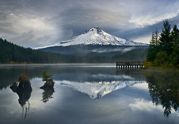 Trillium Lake Photographs Photograph - Trillium Reflections by David  Forster
