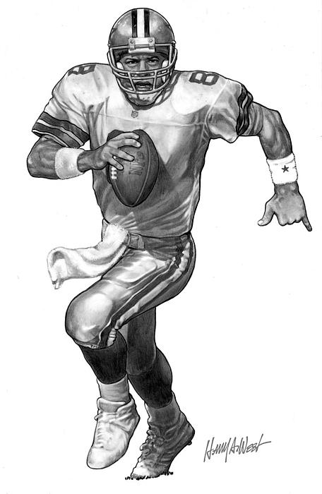 Troy Aikman Drawing - Troy Aikman by Harry West