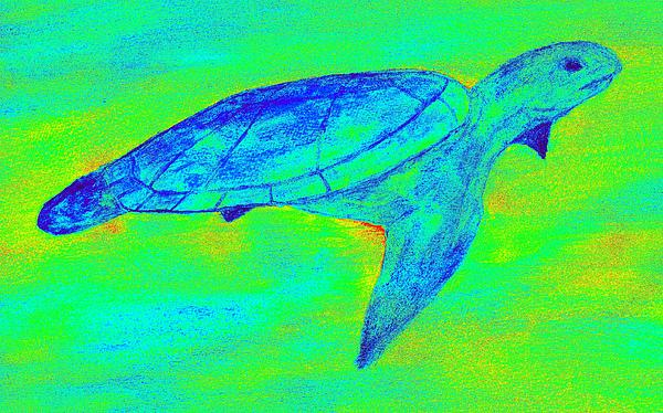 Sea Turtle Painting - Turtle Life - Digital Ink Stamp Green by Brett Smith