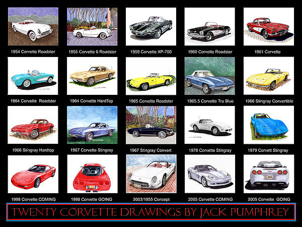 20 Drawings Of The Chevrolet Corvette By Jack Pumphrey Painting - Twenty Corvettes by Jack Pumphrey