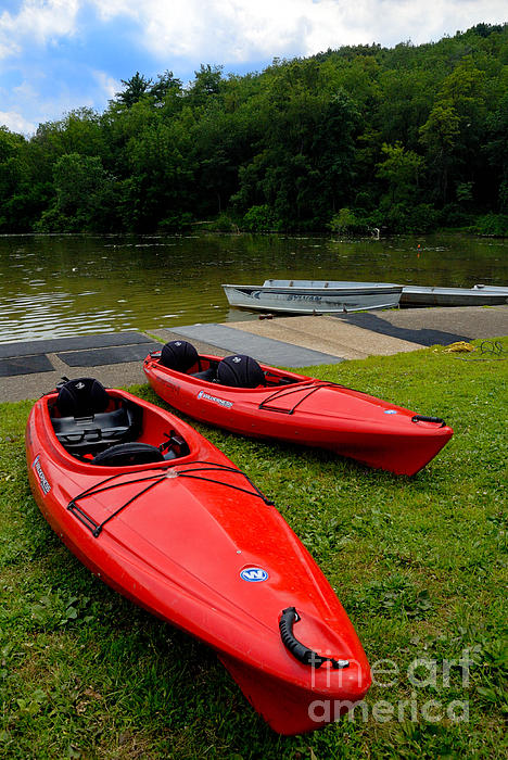 2 Seat Photograph - Two Red Kayaks by Amy Cicconi