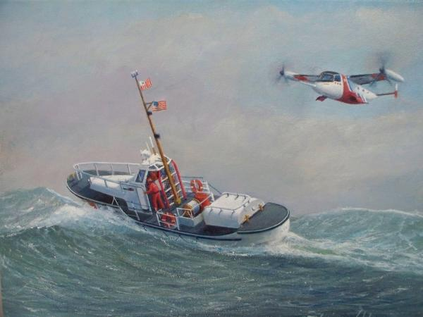U. S. Coast Guard 44ft Motor Lifeboat And Tilt-motor Aircraft  Painting