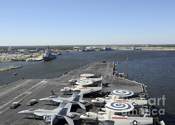 Military Photograph - Uss Enterprise Arrives At Naval Station by Stocktrek Images