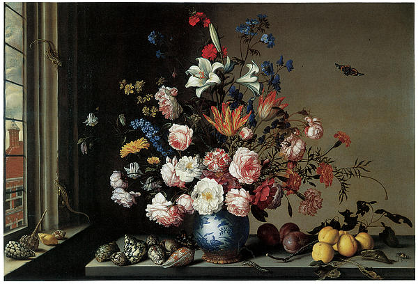 Balthasar Van Der Ast Painting - Vase Of Flowers By A Window by Balthasar Van Der Ast