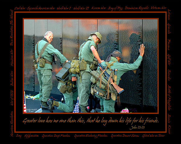 Veterans At Vietnam Wall Photograph