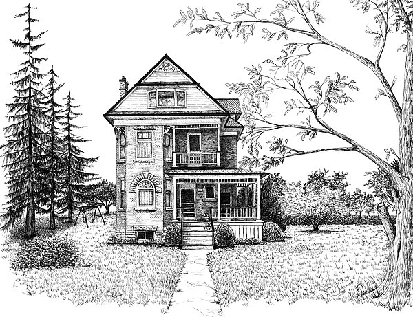 House Drawing - Victorian Farmhouse Pen And Ink by Renee Forth-Fukumoto