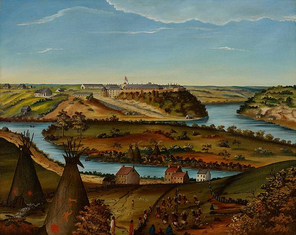 View; Panorama; Fort Snelling; Minnesota; Landscape; Teepee; Tipi; Native Americans; Colonial; Camp; Military; Mississippi; River; America; American; Usa; Naive; Red Indians; Houses; Buildings; Exterior;  View; Panorama; Fort Snelling; Minnesota; Landscape; Teepee; Tipi; Native Americans; Colonial; Camp; Military; Mississippi; River; America; American; Usa; Naive; Red Indians; Houses; Buildings; Exterior; Tent Painting - View Of Fort Snelling by Edward K Thomas