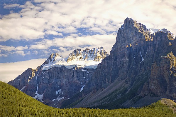 Banff National Park Photograph - View Of Glacial Mountains And Trees In by Laura Ciapponi