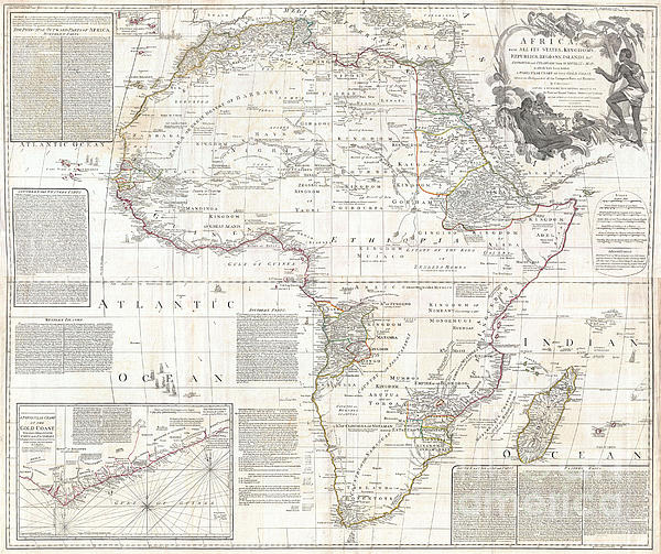 Vintage Old World Map Of Africa Is Part Of The Popular Fine Art Vintage Map Collection.  Photograph - Vinatge Old World Map Of Africa by Inspired Nature Photography Fine Art Photography