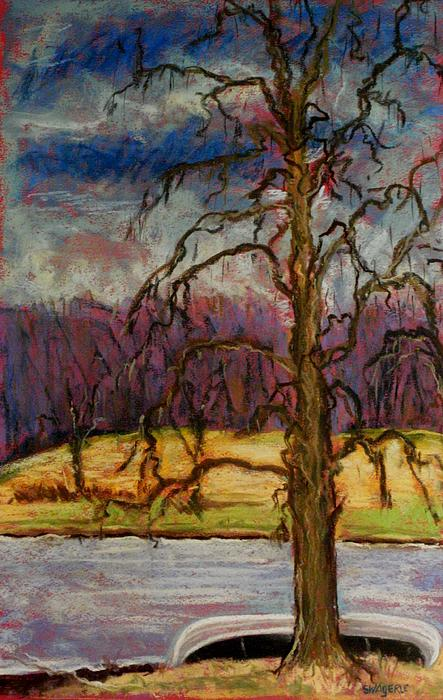 Woods Pastel - Waiting For Spring by Tim  Swagerle