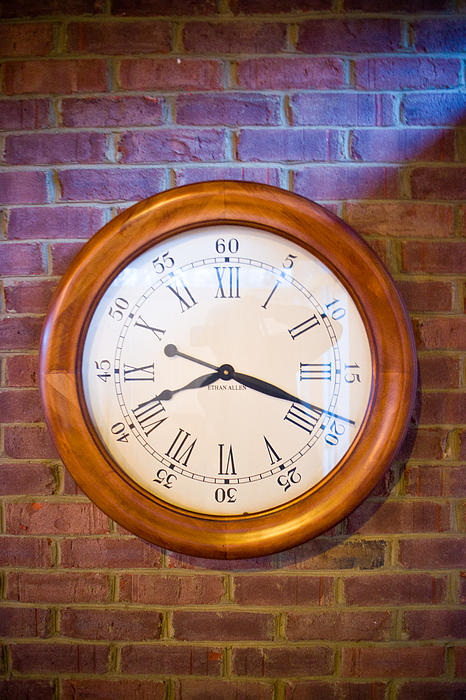 Brick Photograph - Wall Clock 1 by Douglas Barnett