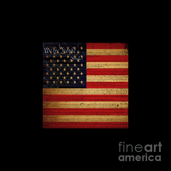 Usa Photograph - We The People - The Us Constitution With Flag - Square Black Border by Wingsdomain Art and Photography