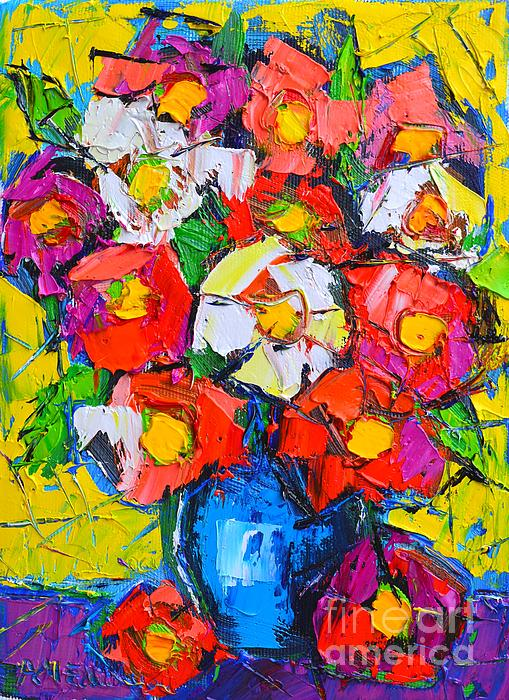 Flowers Painting - Wild Colorful Flowers by Ana Maria Edulescu