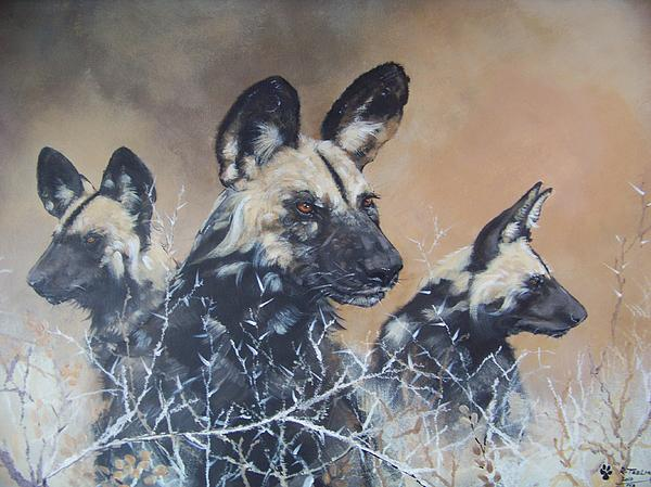 Wild Dog Painting - Wild Dog Trio by Robert Teeling