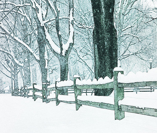 Fence Photograph - Winter Blues by John Stephens
