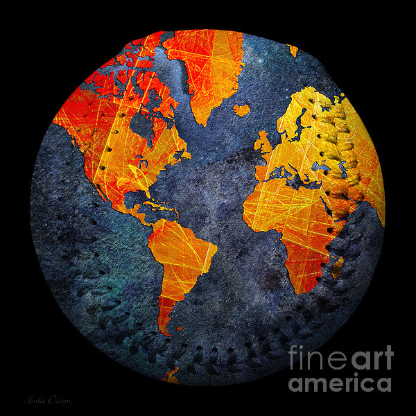 World Map - Elegance Of The Sun Baseball Square Photograph  - World Map - Elegance Of The Sun Baseball Square Fine Art Print