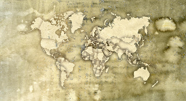 Worn Paper World Map Digital Art  - Worn Paper World Map Fine Art Print
