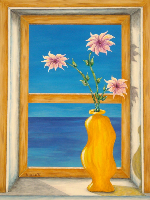 Yellow Vase With Sea View Painting