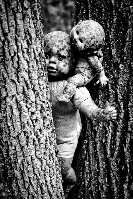 Dolls Photograph - Zombie Dolls Black And White by Shelly Stallings