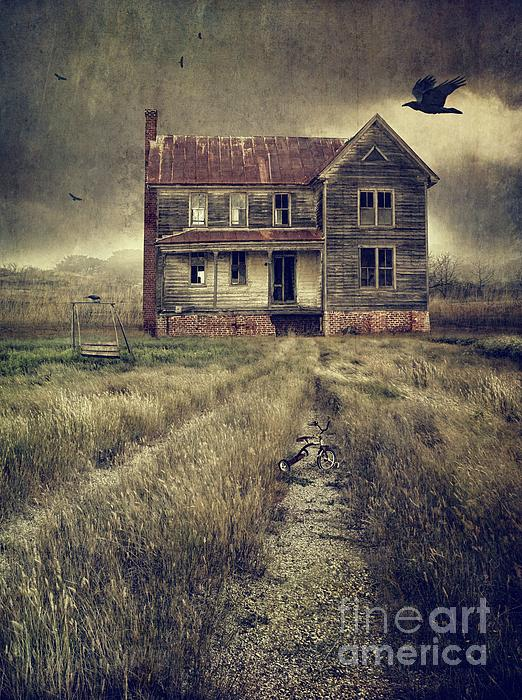 Abandoned Eerie Farmhouse With Dark Clouds Photograph  - Abandoned Eerie Farmhouse With Dark Clouds Fine Art Print