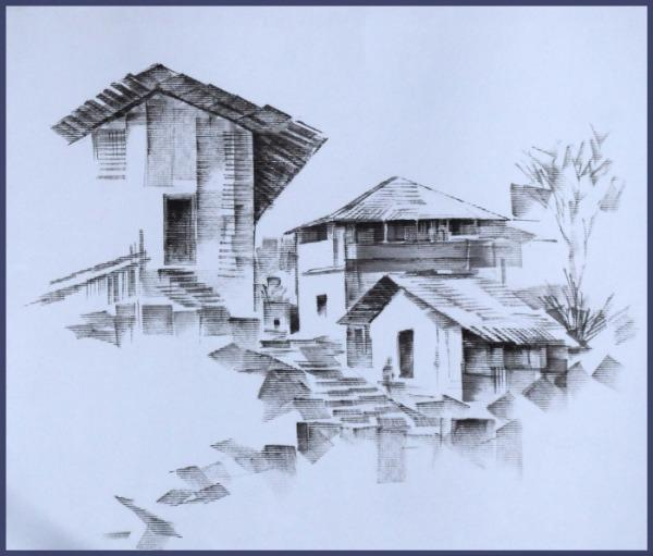 Black N White Landscape Painting by Shivaji Erande
