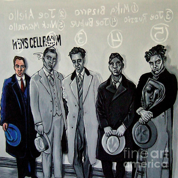 Booked And Processed Gangsters Painting  - Booked And Processed Gangsters Fine Art Print