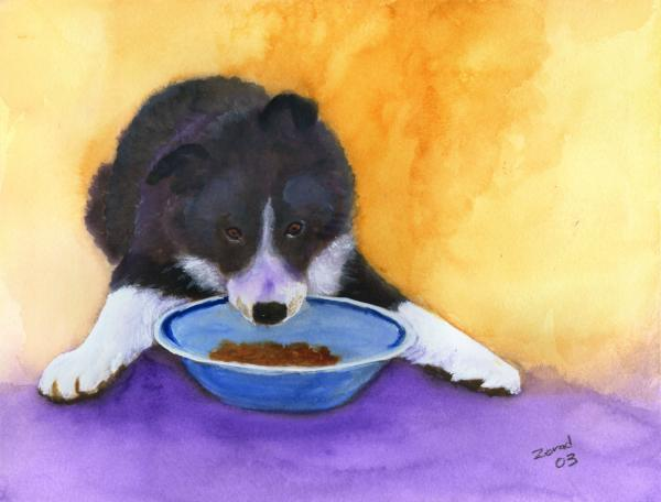 border collie puppies. Border Collie Puppy Painting