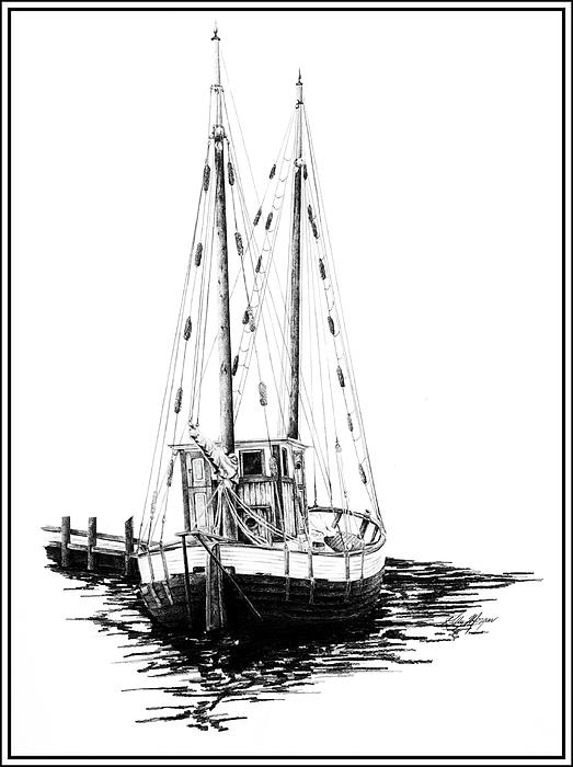 Fishing Boat Drawing  - Fishing Boat Fine Art Print