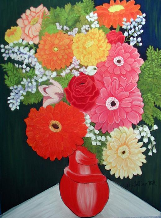 Gerbera Daisy Bouquet Painting by Norma Tolliver