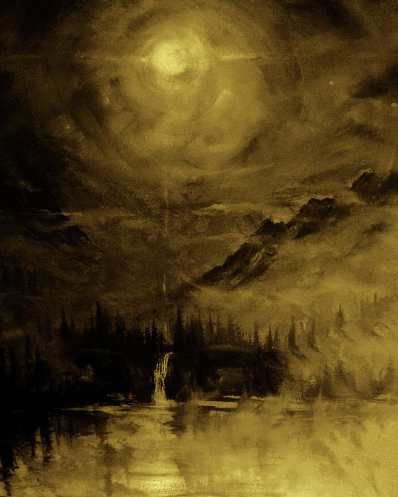 Moon Light Series In Amber Painting  - Moon Light Series In Amber Fine Art Print