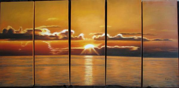ocean sunset clouds waves paintings