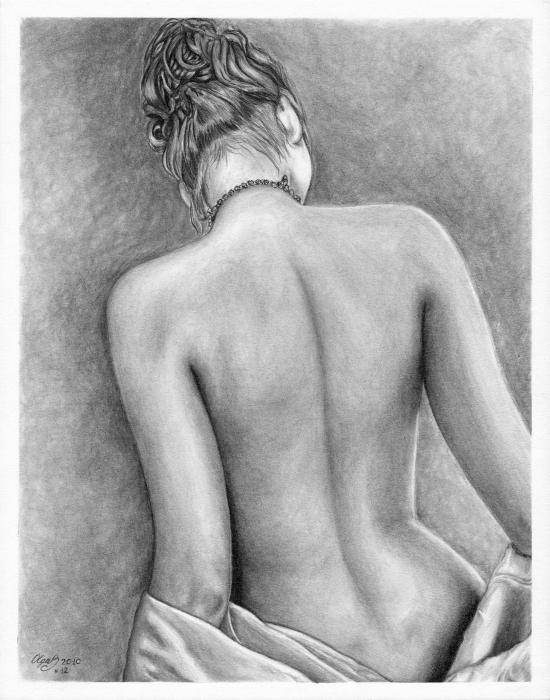 Original Pencil Drawing Nude Female www.olgabell.ca Greeting Card