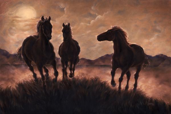 Running Free Painting by Wendy Froshay. Tags: horse paintings, horses