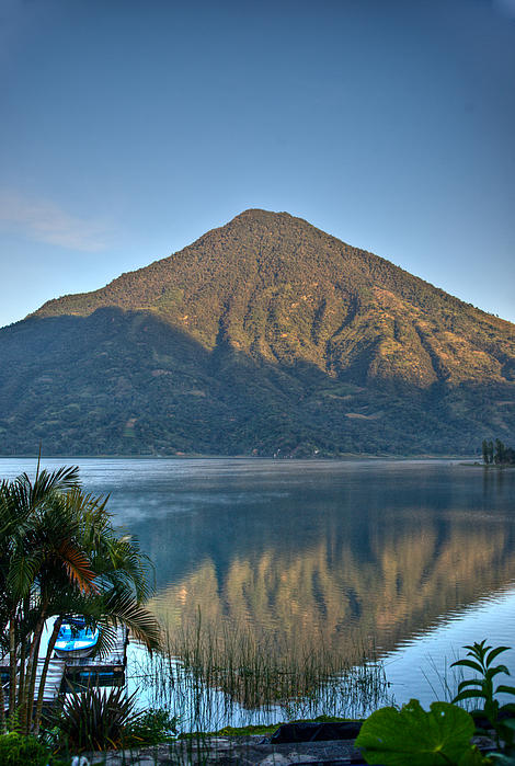 Douglas Barnett - Volcano and Reflection Lake Atitlan Guatemala