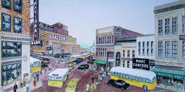 1948 Rush Hour Portsmouth Ohio Painting