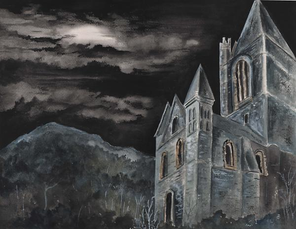 church dark sky watercolor