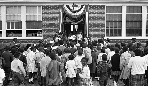 History Photograph - African American Children Entering by Everett