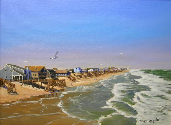 Beach of the Outer Banks of N.C. Painting by Jerry Spangler