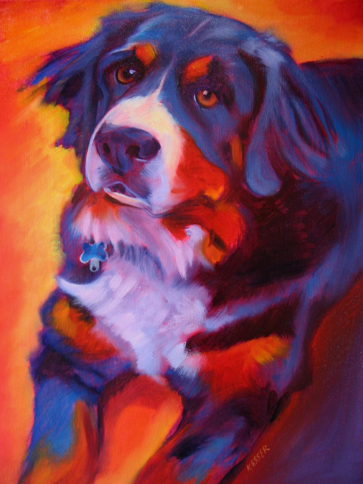 Smart class warm cool color dog paintings for Dog painting artist