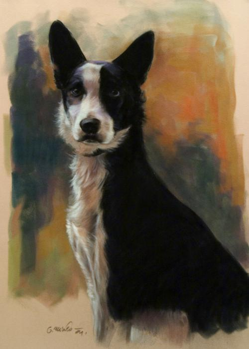 Black And White Dog Painting by Gerard Mineo