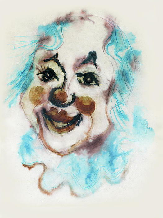 Blue Collar Clown Face With Red Nose And Lips Raised Eyebrows Smile   Painting  - Blue Collar Clown Face With Red Nose And Lips Raised Eyebrows Smile   Fine Art Print