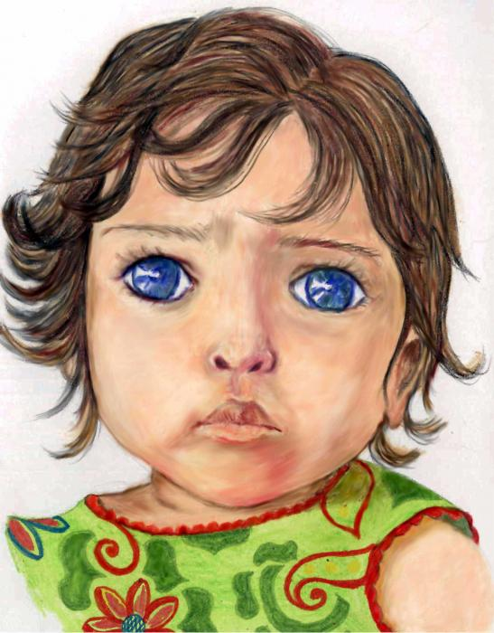 Blue Eyed Girl Drawing by Lenora Brown