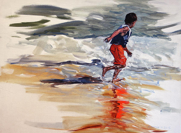 Christine Montague - Boy Chases Waves on Beach