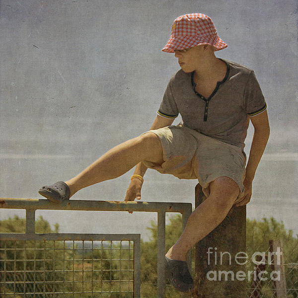 Boy On A Fence Waiting For Lance Armstrong Photograph  - Boy On A Fence Waiting For Lance Armstrong Fine Art Print