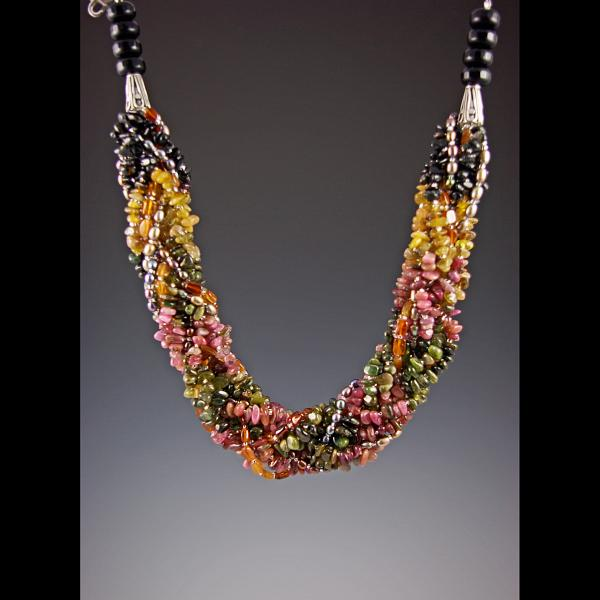 Braided Watermelon Tourmaline Necklace Jewelry by Ella Lazkovich