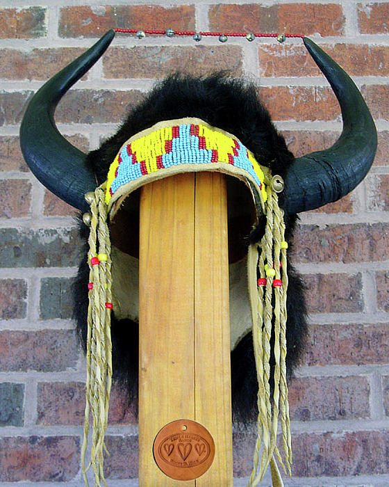 Buffalo Horn Headress Sculpture